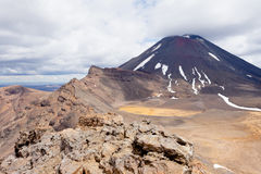 Active volcanoe cone of Mt Ngauruhoe New Zealand Stock Photography