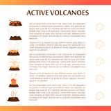 Active Volcanoes Flat Vector Banner. Active volcanoes banner. Volcanic eruptions stages with explosions, smoke and lava splashes flat vector on white background Stock Photo