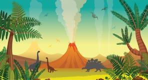 Prehistoric nature landscape - volcanoes, dinosaurs, fern. Royalty Free Stock Images