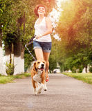Active walk with pet Stock Photos