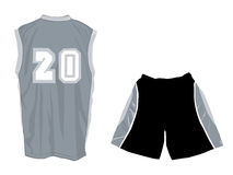 Active wear with tank top and sports shorts. Active wear template with tank top and sports shorts in grey and black vector illustration