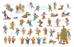 Active winter and merry christmas children, boy and girls making snowman snow angel, play, sledding, ice skating, skiing. Snowshoeing, snowboarding, decorate vector illustration