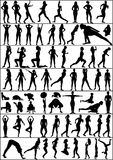 Active woman. Collection of  people silhouettes - active woman Stock Image
