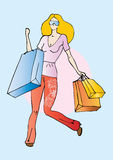 Active woman. Illustration of beautiful woman with big shopping bags royalty free illustration