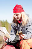 Active woman backpack search navigation map Stock Photo