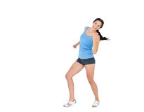 Active woman dancing over white background Royalty Free Stock Photo