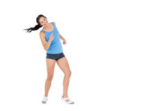 Active woman dancing over white background Royalty Free Stock Photography