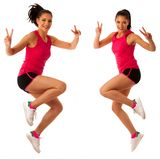 Active woman doing aerobics for a cardio training dancing Stock Image