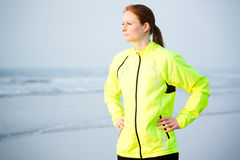 Active Woman Doing Sports by the Sea Stock Photos