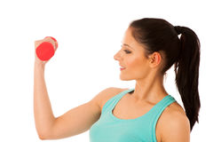 Active woman with dumbbells workout in fitness gym isolated over Stock Photos