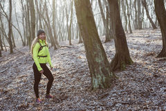 Active woman in forest Royalty Free Stock Images