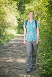 Active Woman Hiking in Nature Royalty Free Stock Photography