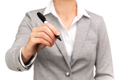 Active woman holding a pen Stock Image