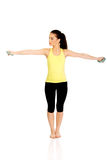 Active woman holding weights. Royalty Free Stock Photography