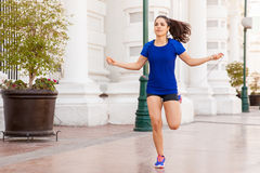 Active woman jumping a rope Stock Image
