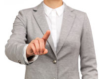 Active woman pointing something with his finger Royalty Free Stock Image