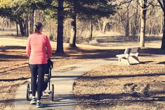 Active woman pushing a stroller through a park Stock Photos