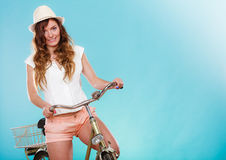 Active woman riding bike bicycle. Recreation. Royalty Free Stock Images