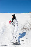 Active Woman Skier Skiing at the Mountain Resort Stock Image