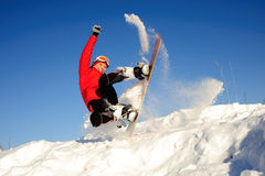 Active woman on snowboard Stock Photography