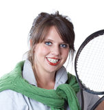 Active woman with a tennis racquet. Young active woman with a tennis racquet; close-up portrait; isolated on a white background Stock Photo