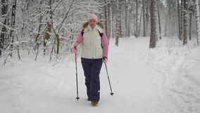Active woman in warm clothes doing nordic walking in the forest. Happy female sportsman stepping with skiing poles in stock video footage