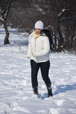 Active woman in winter stock image