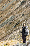 Active women on mountain path - Tatras Mountains. Royalty Free Stock Photo
