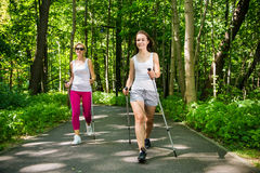 Active women nordic walking royalty free stock photography