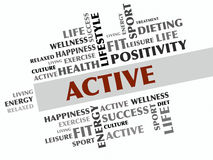 ACTIVE word cloud, fitness, sport, health concept Stock Photo
