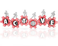 Active Word Gears People Exercising Physical Activity Fitness Royalty Free Stock Photos