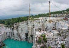 Active, working granite quarry Stock Photo