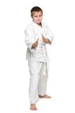 Active young boy in kimono Stock Photo
