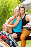 Active young couple climbing gear relax terrace Stock Photography