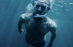 Active man swimming underwater. royalty free stock image