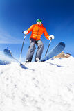 Active young man ready to skiing view from below Royalty Free Stock Image