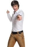 Active young man showing his hands. On a white background Royalty Free Stock Photos