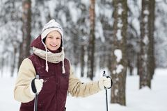 Active Young Man Skiing in Snow royalty free stock photo