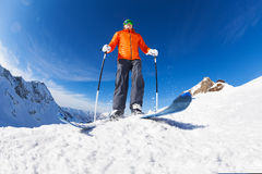 Active young man skiing view from below in Sochi Stock Images