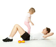 Active young mother and her little daughter Stock Image