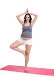 Active young pregnant woman doing yoga Stock Photos