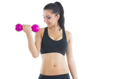 Active young woman using a pink dumbbell for training her arm Royalty Free Stock Photo