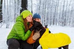 Activefamily-Weg der Hund im Winterwald Stockbild