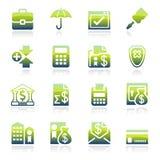 Actividad bancaria de iconos verdes Foto de archivo