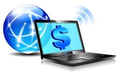 Actividad bancaria de paga en línea por el Internet ilustración del vector