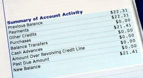 Actividad de la cuenta de una cuenta de la tarjeta de crédito Fotos de archivo