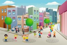 Actividad de la gente en el área residente del plano y del apartamento Imagenes de archivo
