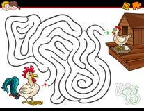 Actividad del laberinto de la historieta con el gallo y la gallina Fotos de archivo