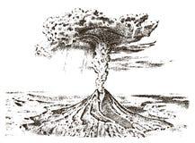 Actividad del volcán con el magma, humo antes de la erupción y lava o desastre de la naturaleza para el viaje, aventura Montaña stock de ilustración