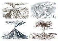 Actividad del volcán con el magma, humo antes de la erupción y lava o desastre de la naturaleza para el viaje, aventura Montaña ilustración del vector